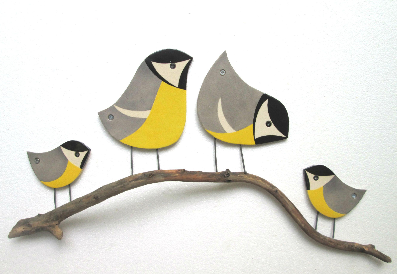 Bird family wall art ceramic garden decor outdoor wall art