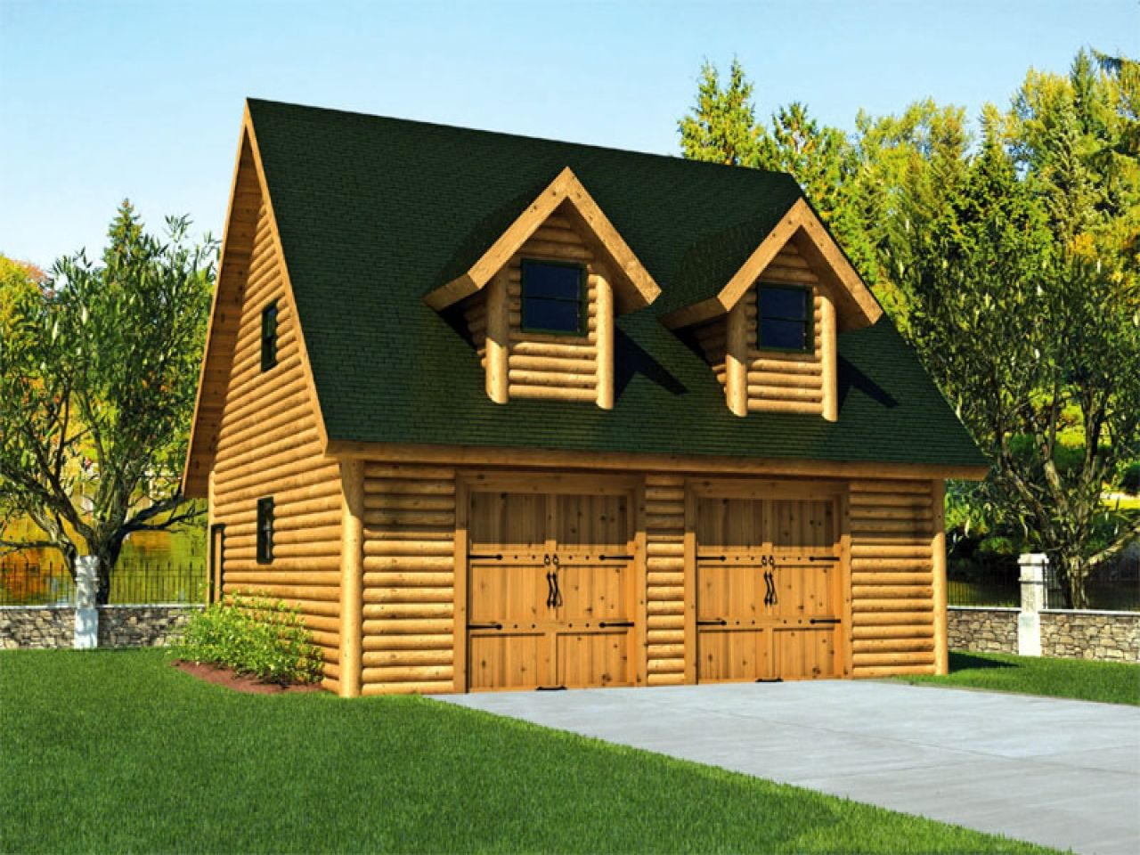 Log Cabin Floor Plans With Garage Homes Door Red Cabins