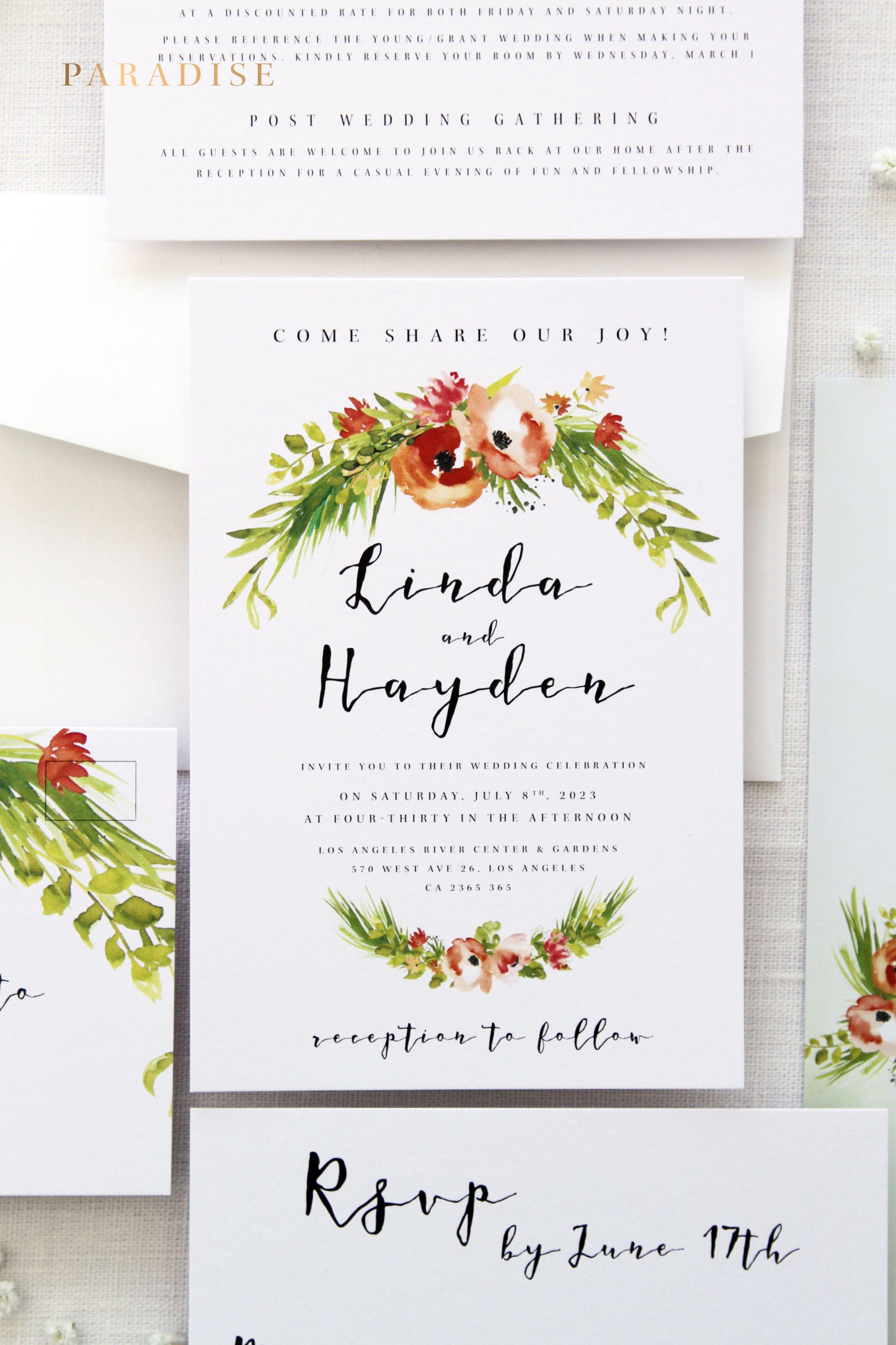 Irene Green and Coral Orange Wedding Invitation Kits, Beach Wedding ...