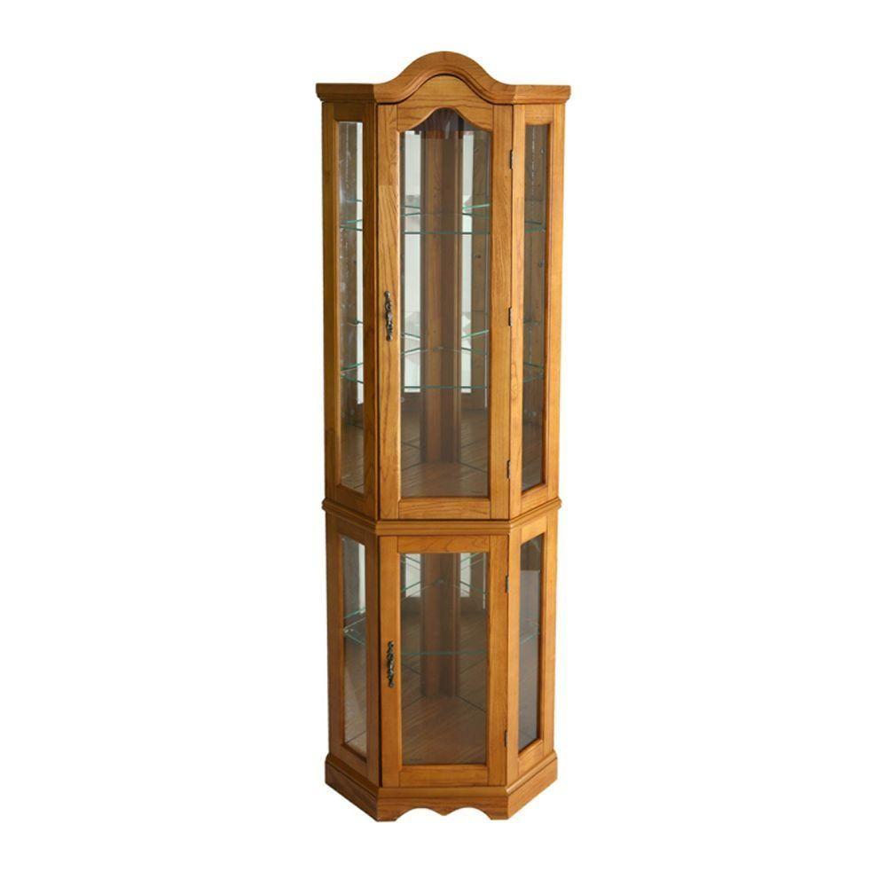 Southern Enterprises Priscilla Golden Oak Glass Door Curio Cabinet ...