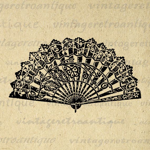 Printable Digital Chinese Fan Graphic by VintageRetroAntique