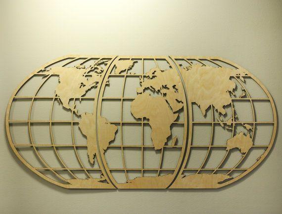 World Map Art -Huge Wood Globe Wall Hanging Huge 3D Earth World Map ...