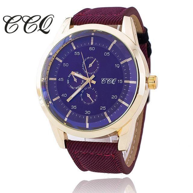 CCQ Fashion Leather Strap Men Watches Casual Big Dal Male Watch Luxury Quartz Watch Relogio Masculino Gift 1588