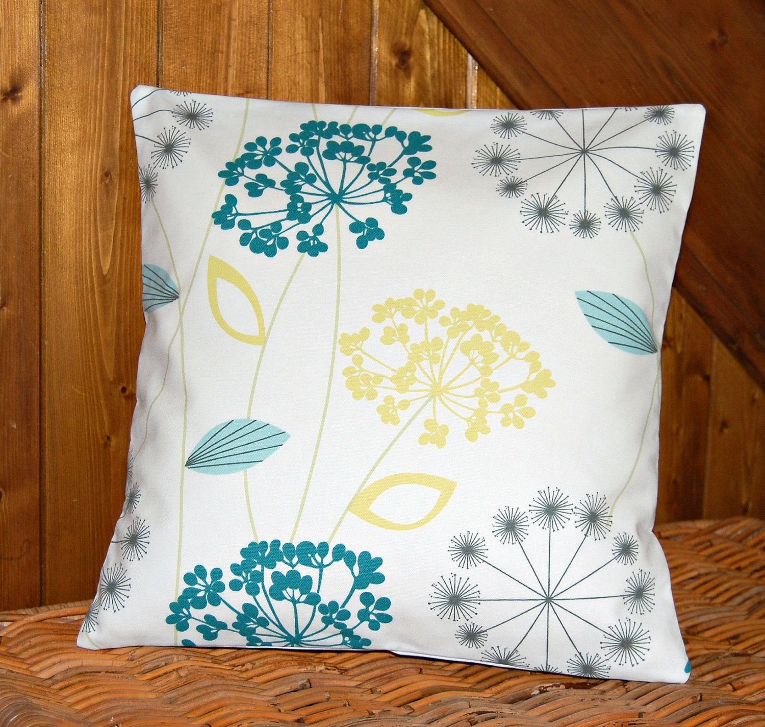 teal blue grey lemon decorative pillow cover, flower cushion cover ...