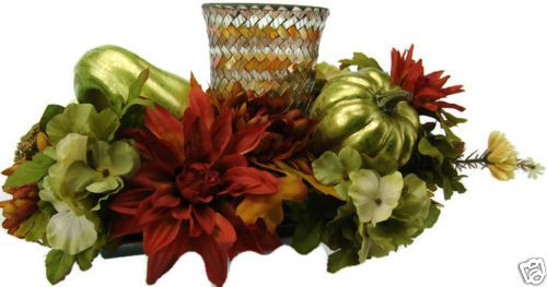 Festive-Fall-Harvest-Holiday-Floral-Table-Centerpiece-Candle-Holder-Decoration