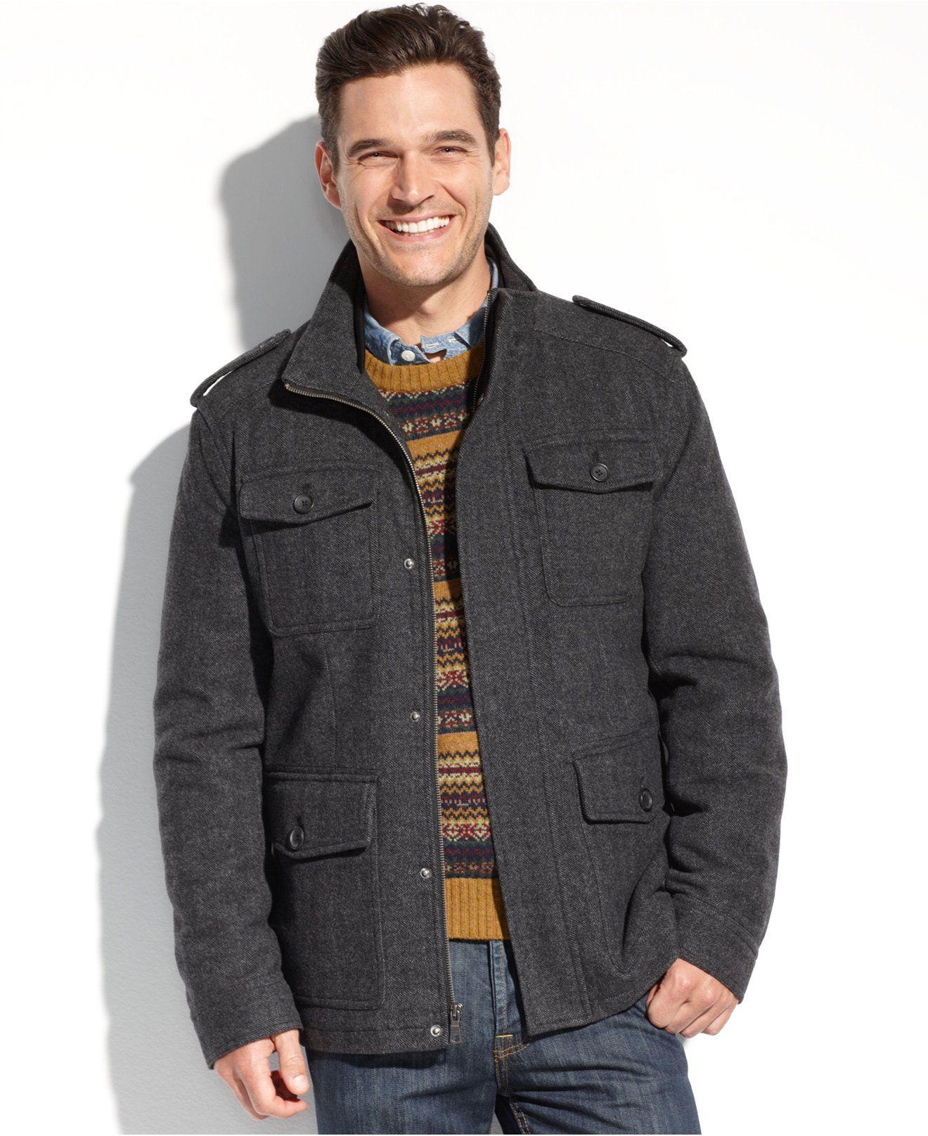 953f279a Tommy Hilfiger Coat, Melton Wool Military 4-Pocket Coat - Coats & Jackets -  Men - Macy's