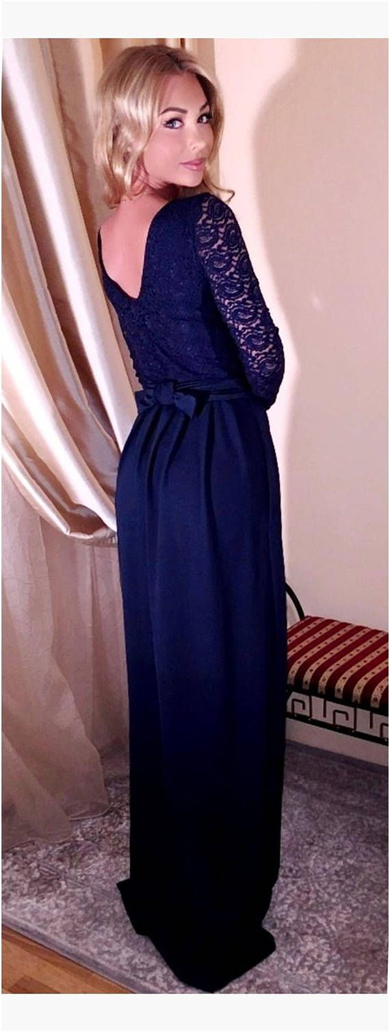 Navy blue top lace maxi dress round or v neck v back long sleeves
