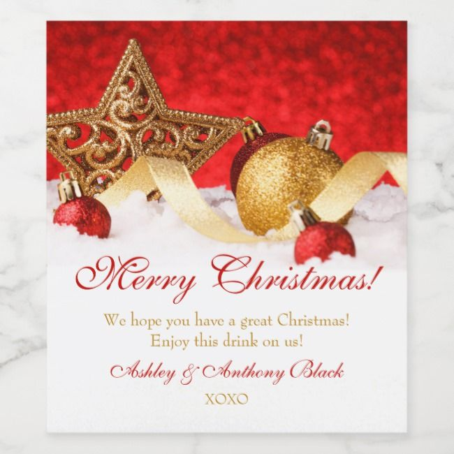 Personalized Christmas Wine Labels | Gold Red |  Personalized Christmas Wine Labels | Gold Red