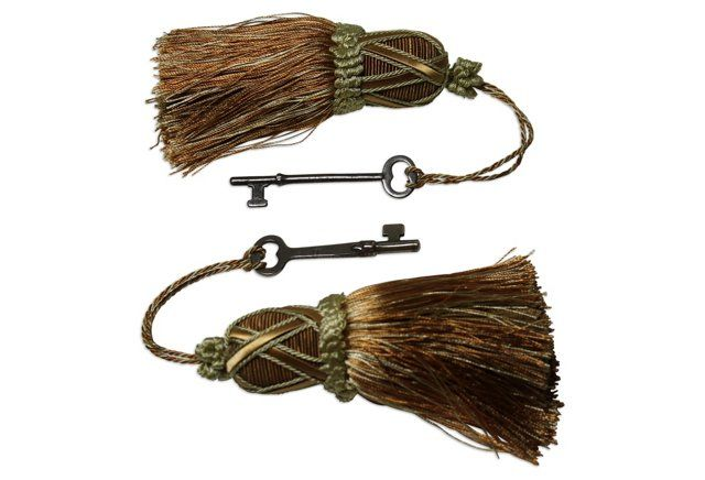 Estate Keys on Tassels, Set of 2