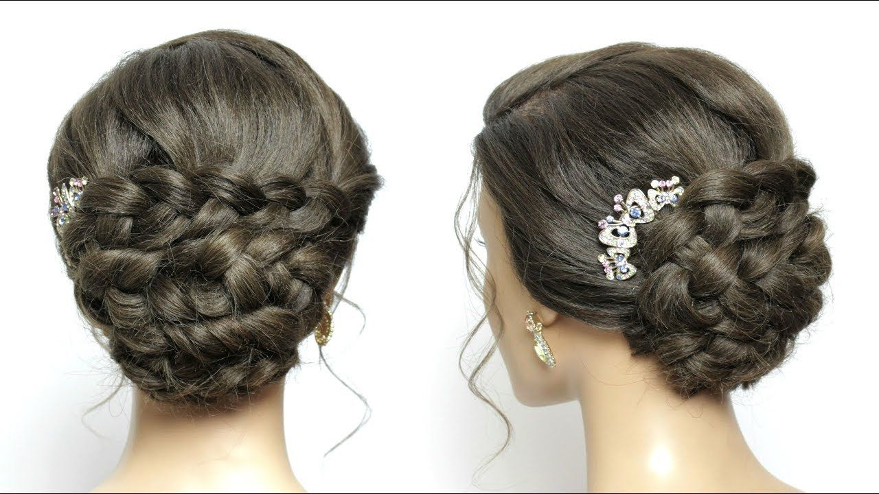 Simple and easy braided updo hairstyle for long hair tutorial