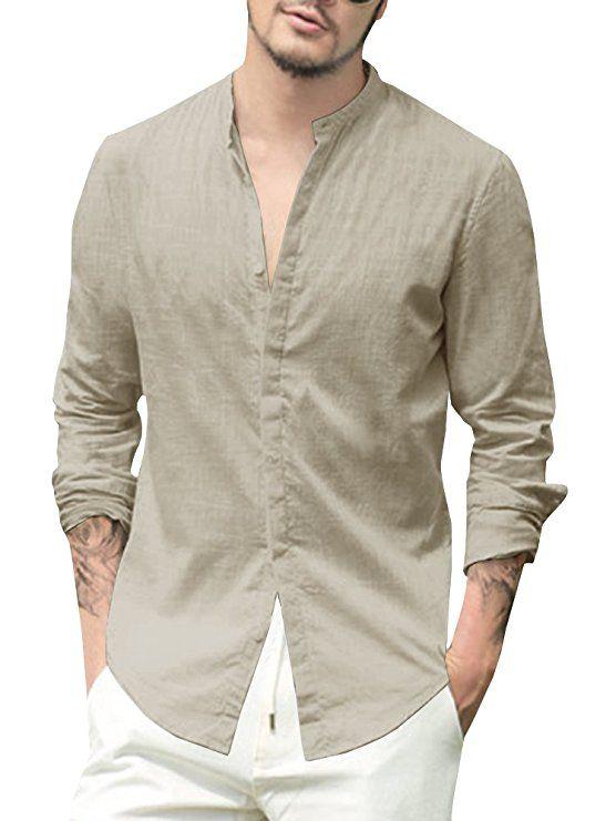 046c8d42c22 Taoliyuan Mens Linen Cotton Banded Collar Long Sleeve Button Down Casual  Shirts Regular Fit in 2019