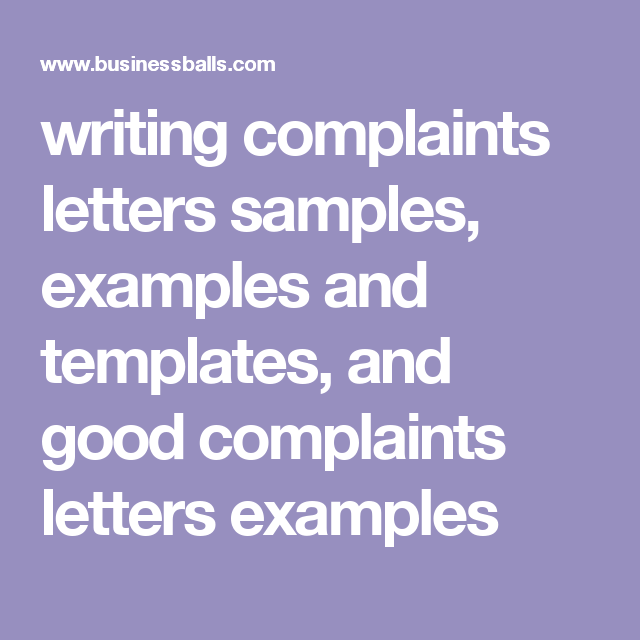 Writing Complaints Letters Samples Examples And Templates And