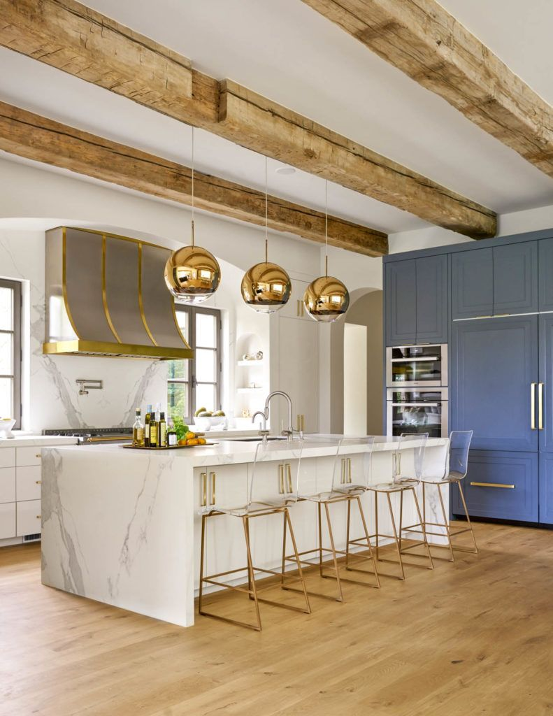 Stunning Kitchen With Wooden Beams White Marble And Gold