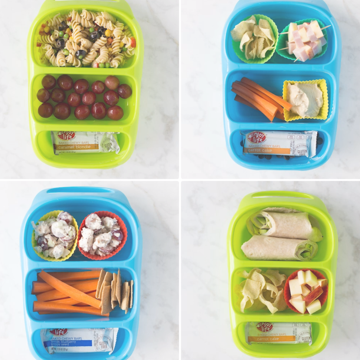 4 Allergy-Friendly Lunches! Easy, KID-FRIENDLY lunch ideas including delicious snacks from Enjoy Li