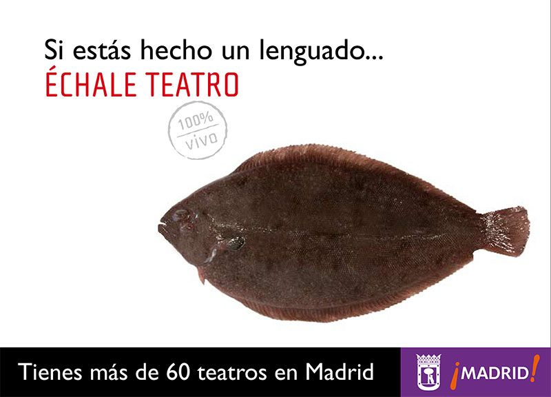 Promoción de teatros de Madrid. Cartel con lenguado.