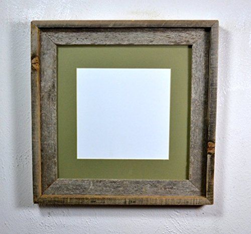 12x12 Picture Frame From Eco Friendly Reclaimed Wood Matted To 8x8 Very Rustic Old Wood Frame For Your Favorite Old Rustic Wall Decor Picture Frames Green Mat