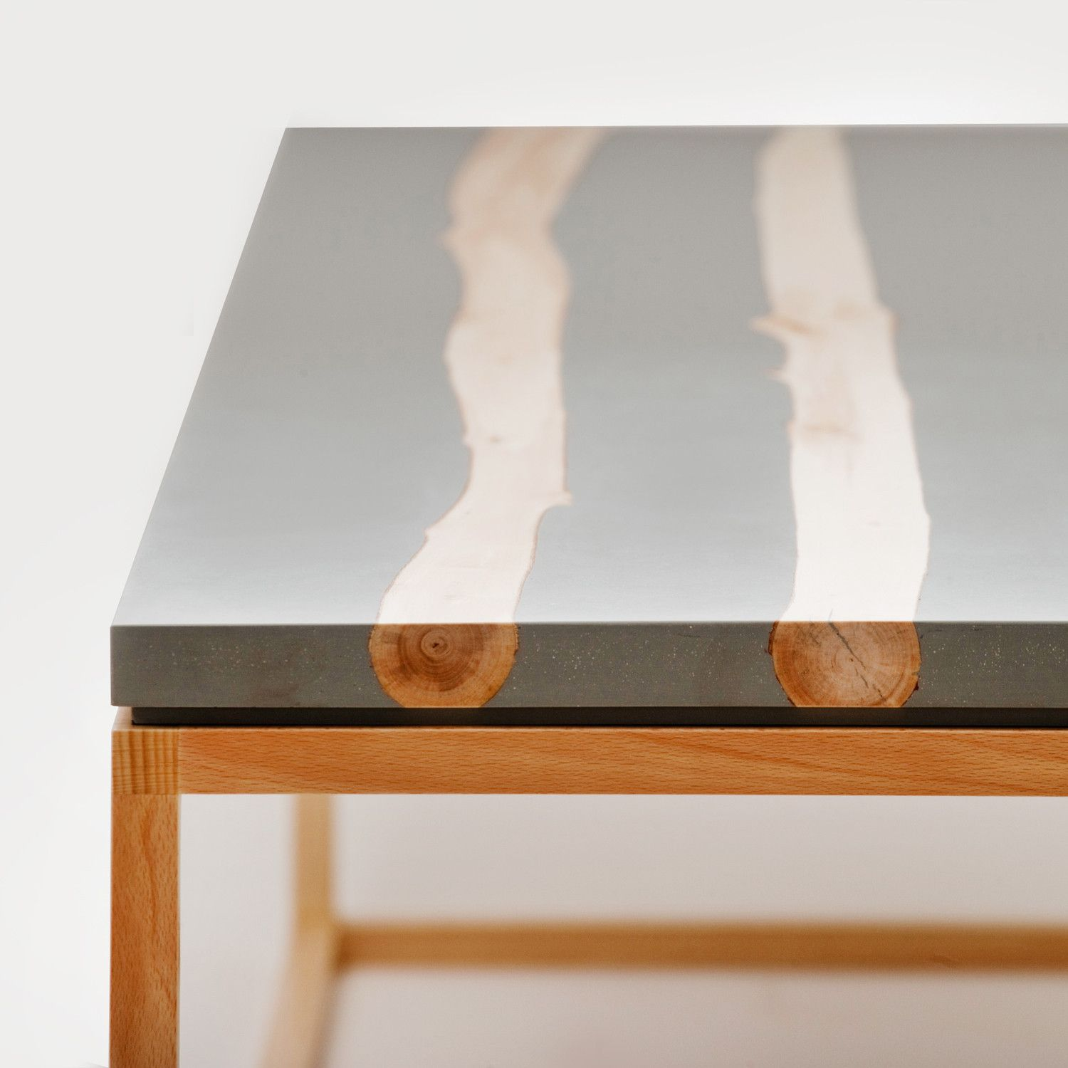 salvaged birch branches + resin coffee table / mth woodworks