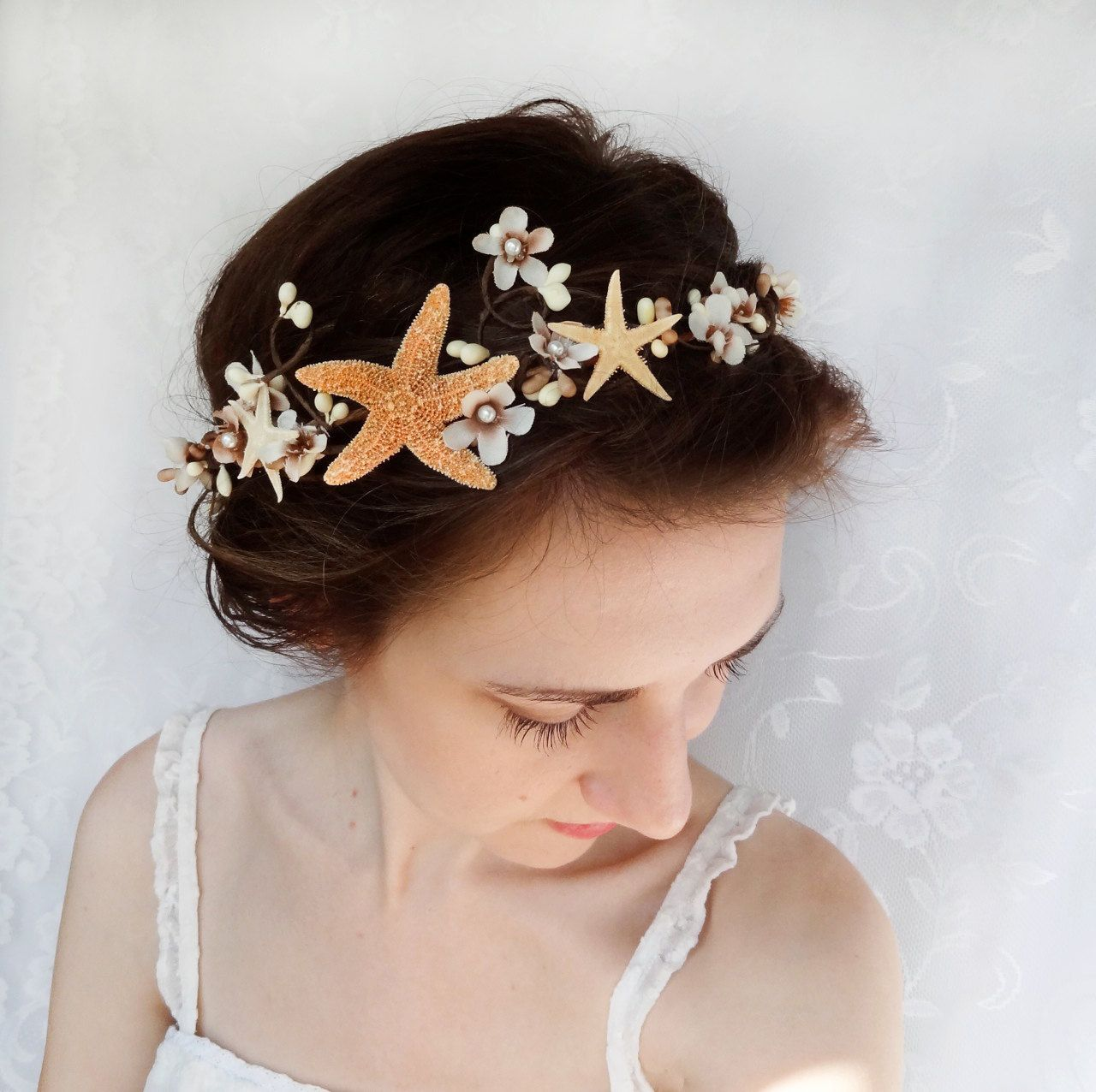 seashell hair accessory, beach wedding, starfish head ...