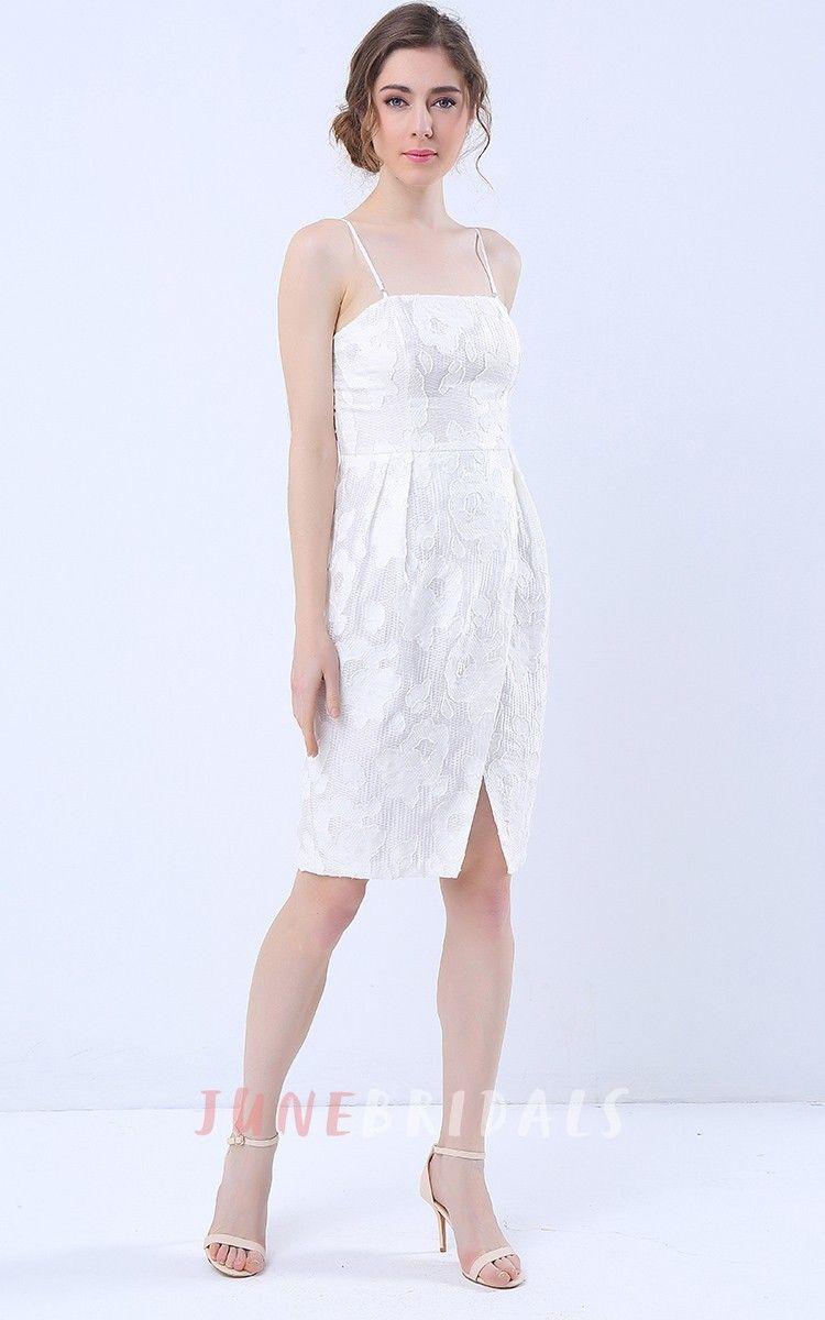 Detachable straps knee length dress with slit wedding guest
