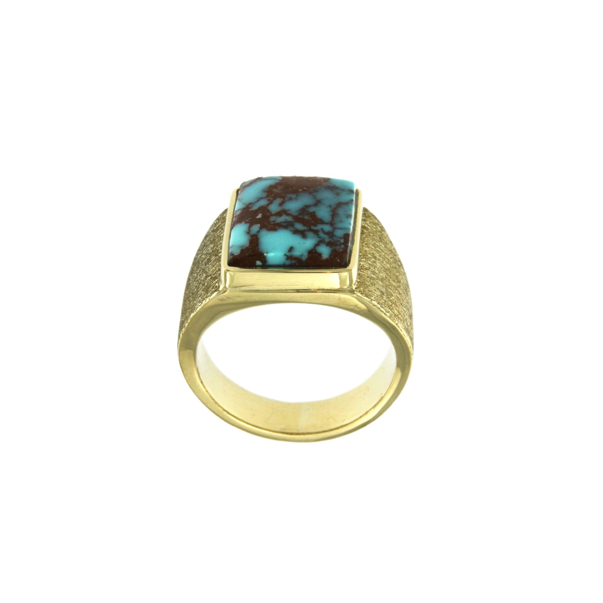 #Bisbee #Turquoise #Ring in #18k #Yellow #Gold Anyone who knows #turquoise knows about #Bisbee This isn't your typical #turquoise . This prized #specimen shows off its striking #blue color and its #famous #chocolate #matrix