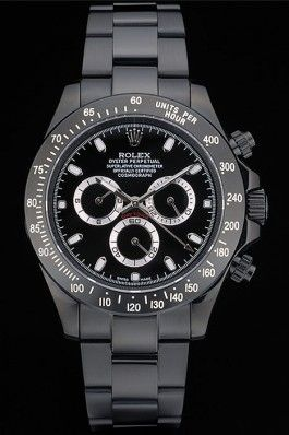 a58b2cfa01e Replica Rolex Daytona Black Ion Plated Tachymeter Black Stainless Steel  Strap Black Dial 80247