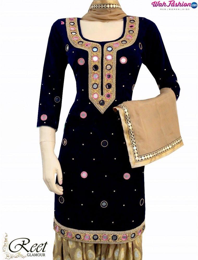 621345a4a9 Elegant Black and Beige Mirror Worked Punjabi Suit | Versha ...