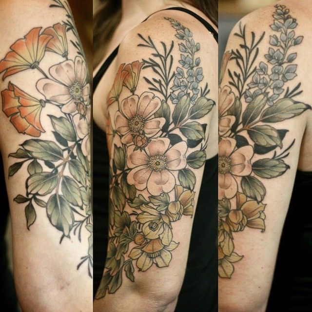 Kirsten Holliday, Wonderland Tattoos, Portland. California native plants: CA wild rose, CA poppy, fremontia, lupine, and silhouettes of  CA sagebrush.