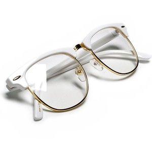 375c03a675 Sunglass Spot-Retro Half Frame Simi-Rimless White Browline Gold Wire Trim  Clear Lens Wayfarer Glasses Sunglasses