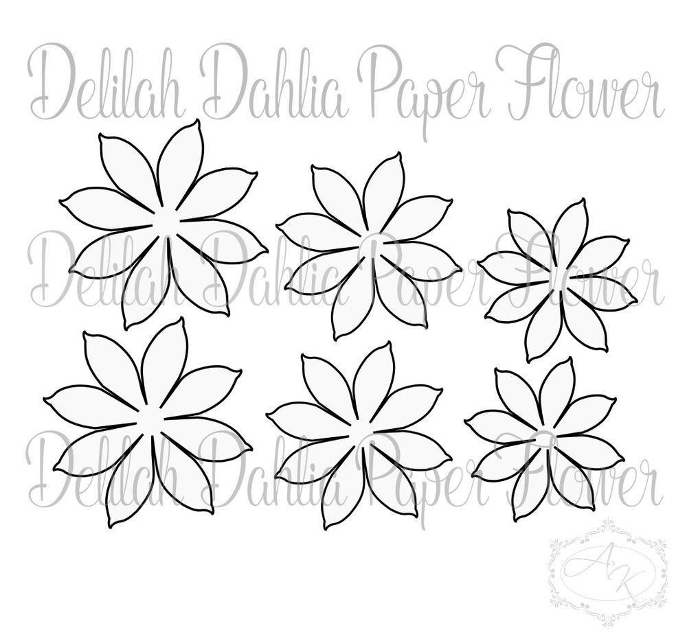 Delilah Dahlia Style Paper Flower Template Paper Flower Template Flower Template Giant Paper Flowers Template