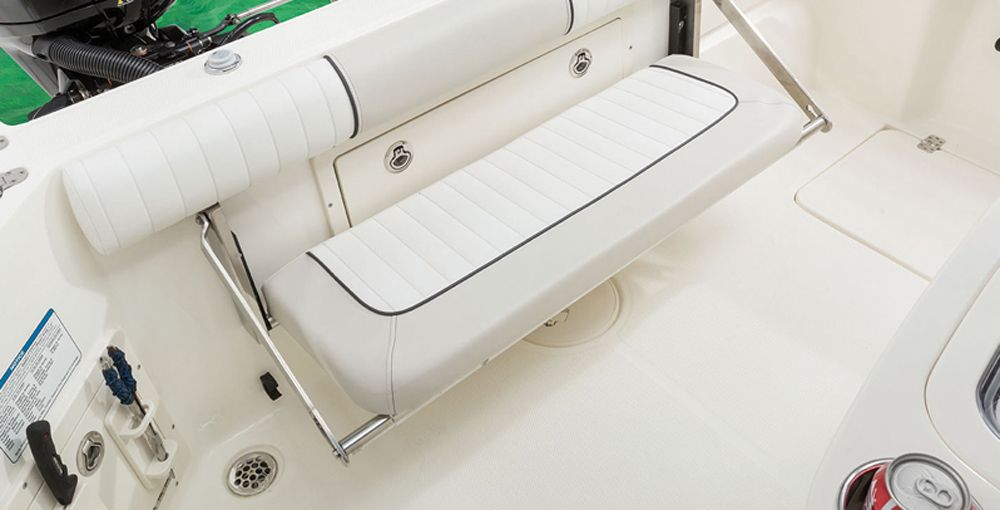 A Fold Down Transom Seat Is A Worthwhile Optional Upgrade Boat Upholstery Offshore Fishing Boats Fishing Boats