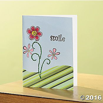 Smile Card. Click below for step by step instructions. Skill Level:Beginner  Time:30 mins.Technique Used:  Stitching and StampingHelpful Tip:Pre-punch the ...