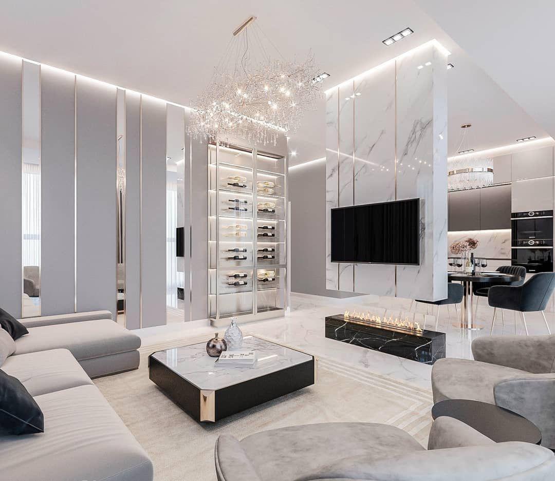 Luxurious White Living Room White living room decor