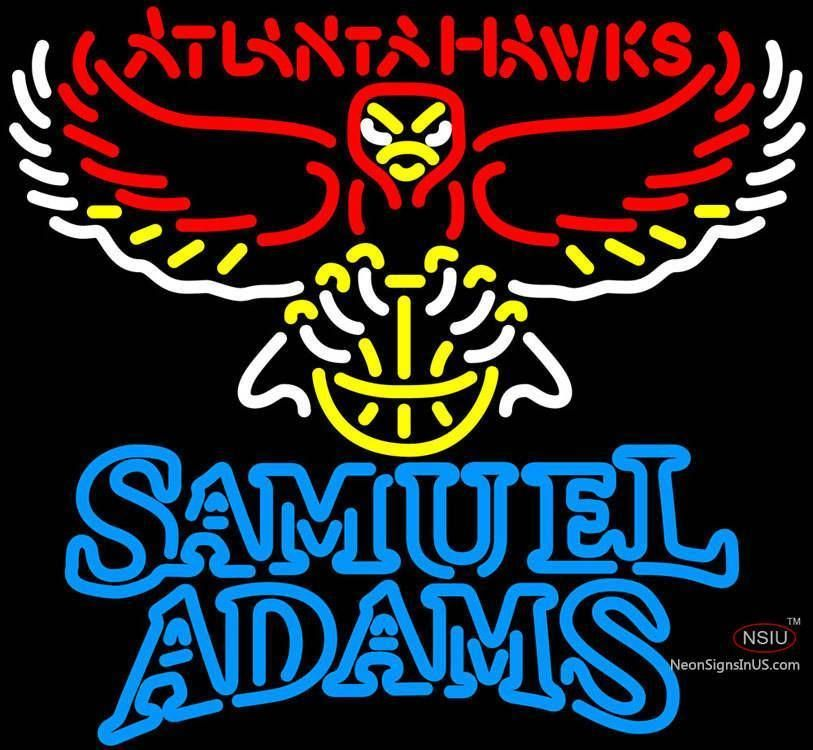 Samuel Adams Double Line Atlanta Hawks NBA Handmade Art