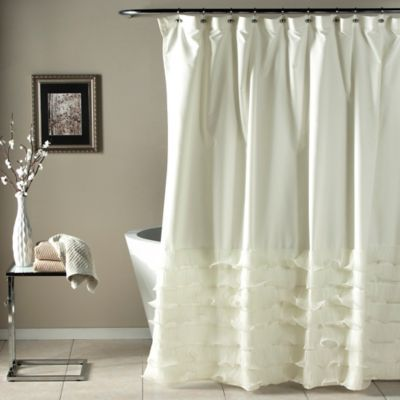 Buy Avery Diaphanous Tier Shower Curtain In White From Bed Bath Beyond