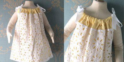 Yellow eyelet dress size 12 for girls