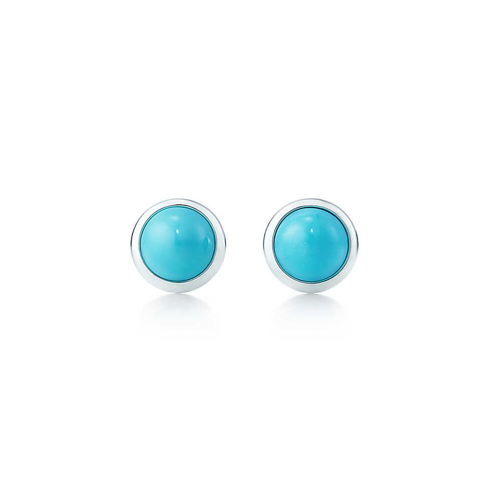 Elsa Peretti Color By The Yard Earrings In Sterling Silver With Turquoise Tiffany
