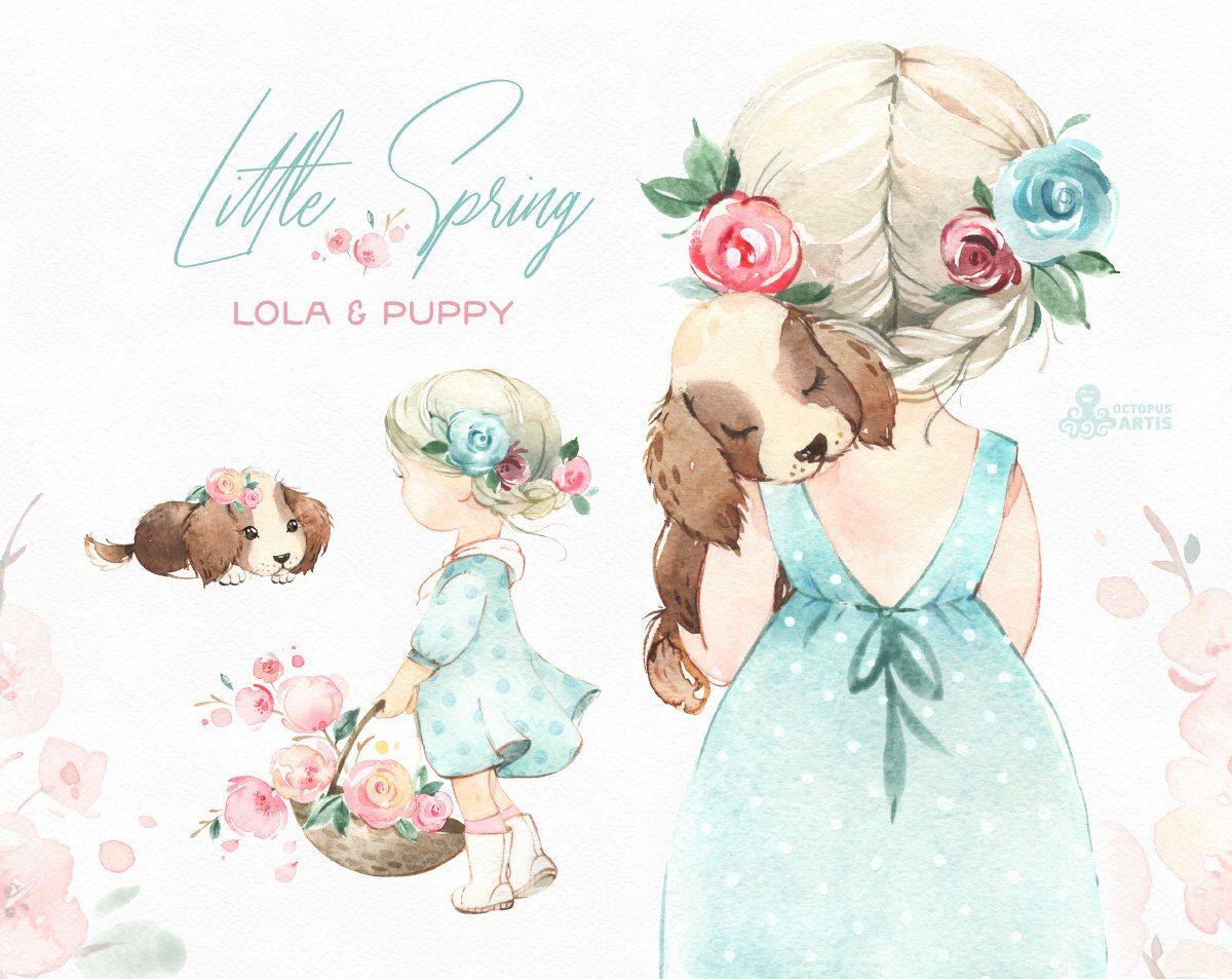 Little Spring Lola Puppy Watercolor Clipart Girl Doggy