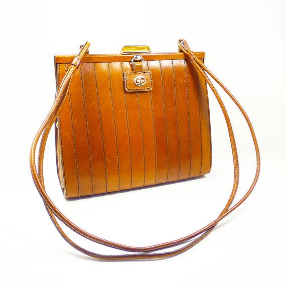 Italian Leather Handbag Brown Ribbed Gold Frame Handle Vintage Purse Italy Style Accessory