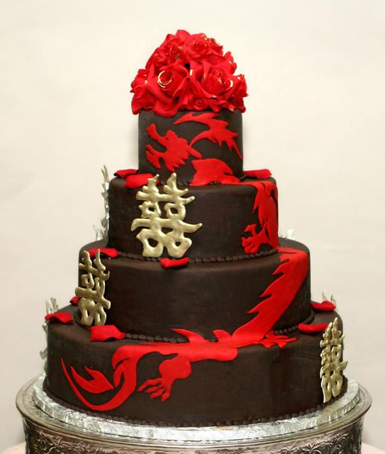 Double Gold Happiness And Red Dragon Themed Wedding Cake By