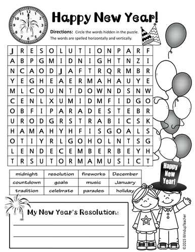 Happy New Year Word Search - 2 levels | Happy New Year! | Pinterest ...