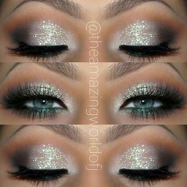 Silver Glitter Eye Makeup Look for Blue Eyes
