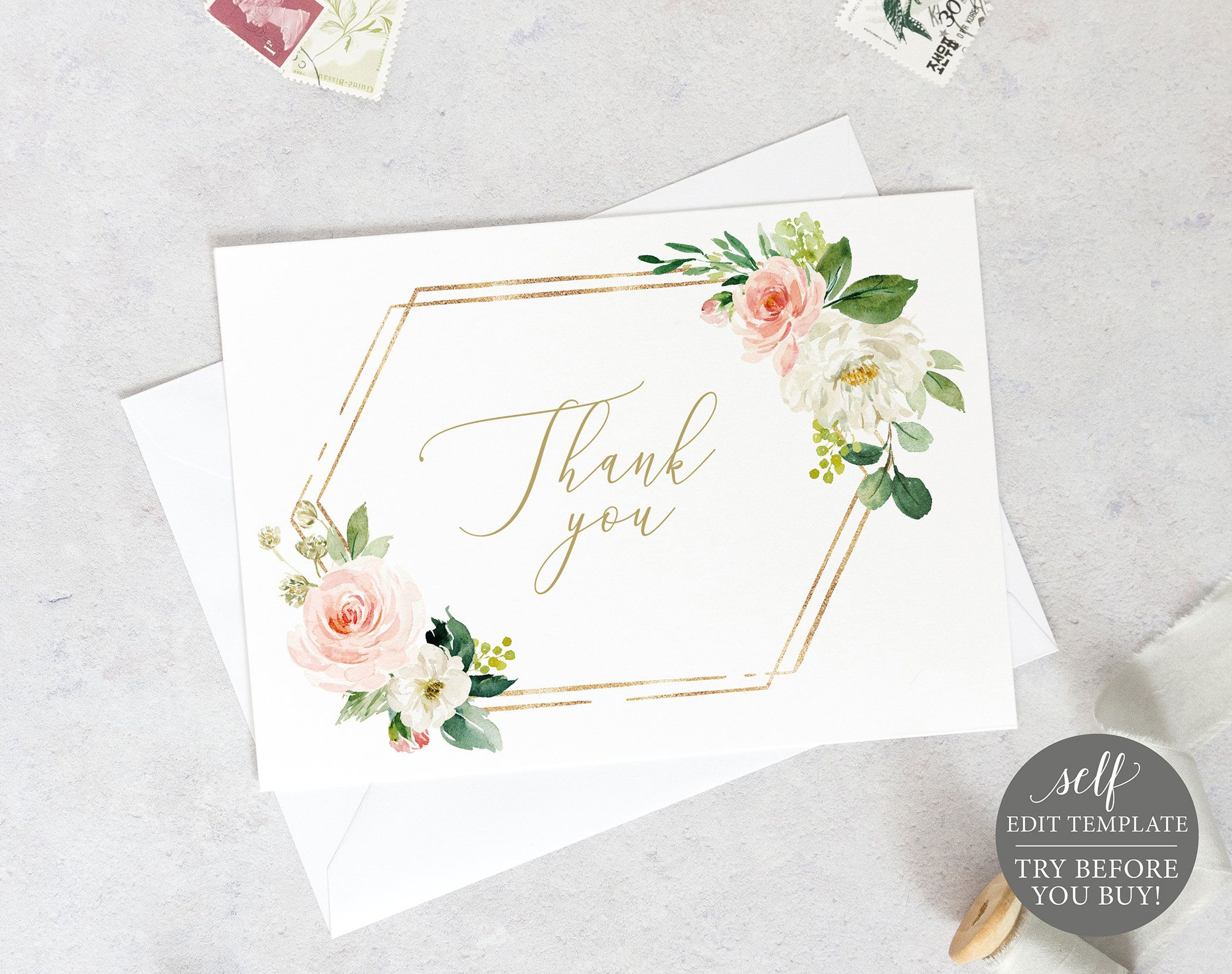 thank you card template fold blush floral hexagonal