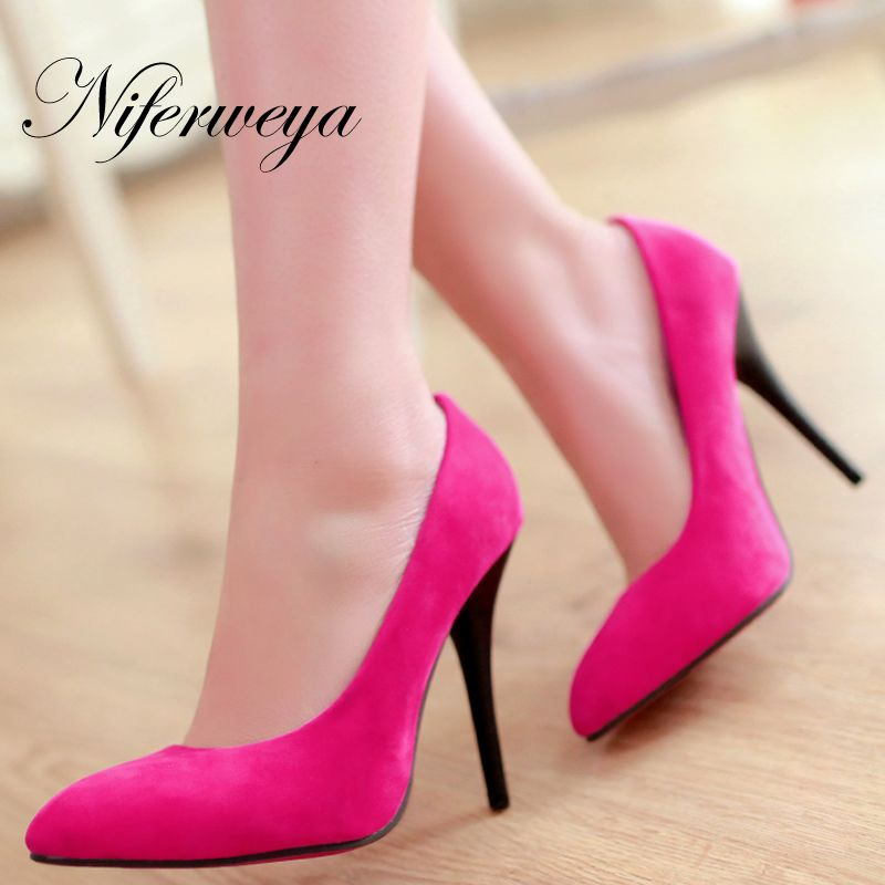 >> Click to Buy << Fashion Spring/Autumn women shoes sexy Pointed Toe wedding high heels big size 31-43 suede Slip-On ladies pumps zapatos mujer #Affiliate