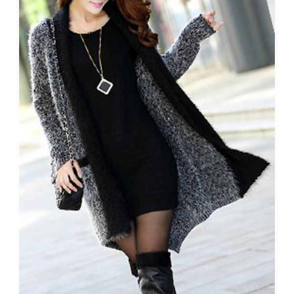 Noble Collarless Long Sleeve Loose-Fitting Women's Long Cardigan