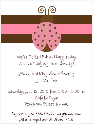 Ladybug Pink And Brown Baby Shower Invitations Shower Ideas