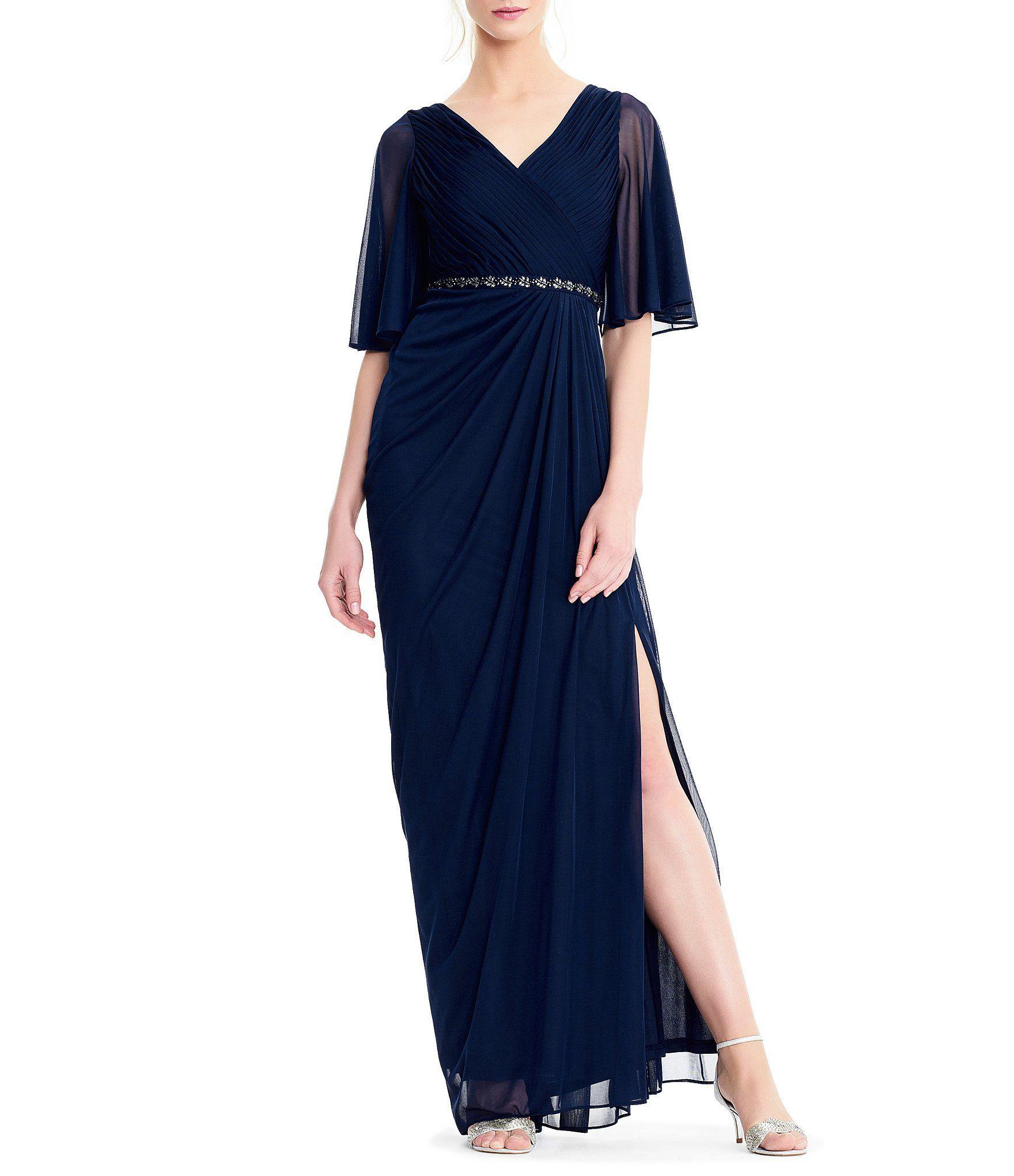 Adrianna Papell Draped Stretch Tulle Short Sleeve Dress Dillards Women Wedding Guest Dresses Dresses Evening Wedding Guest Dresses [ 2040 x 1760 Pixel ]