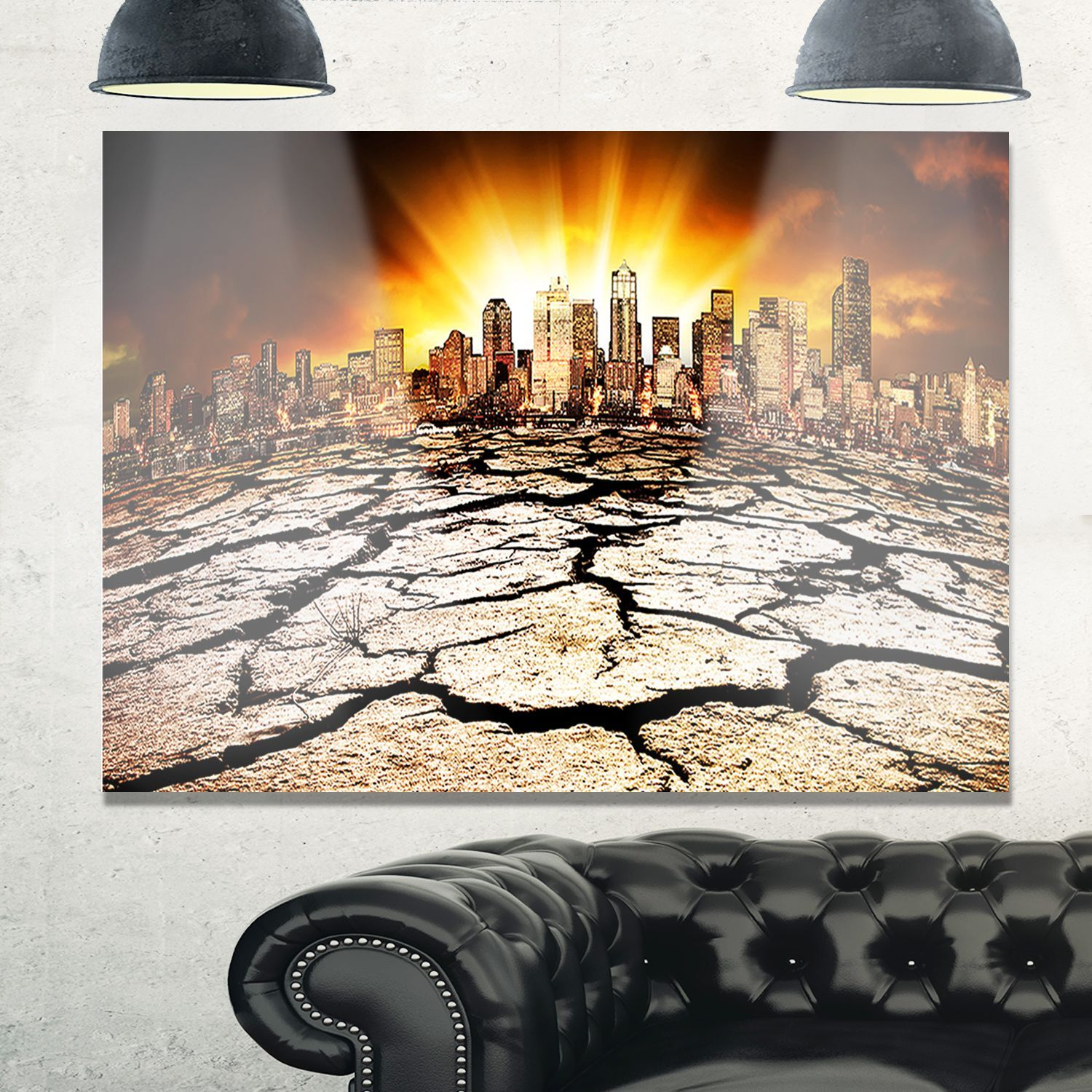 City with effect of climate change extra large glossy metal wall