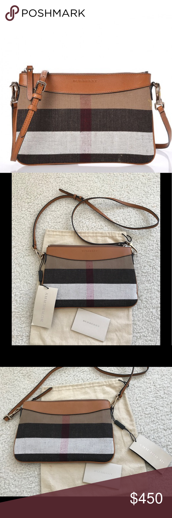78171aefe NWT Burberry crossbody clutch bag 100%Authentic guaranteed Burberry Canvas  Check Calfskin Derby Peyton Crossbody