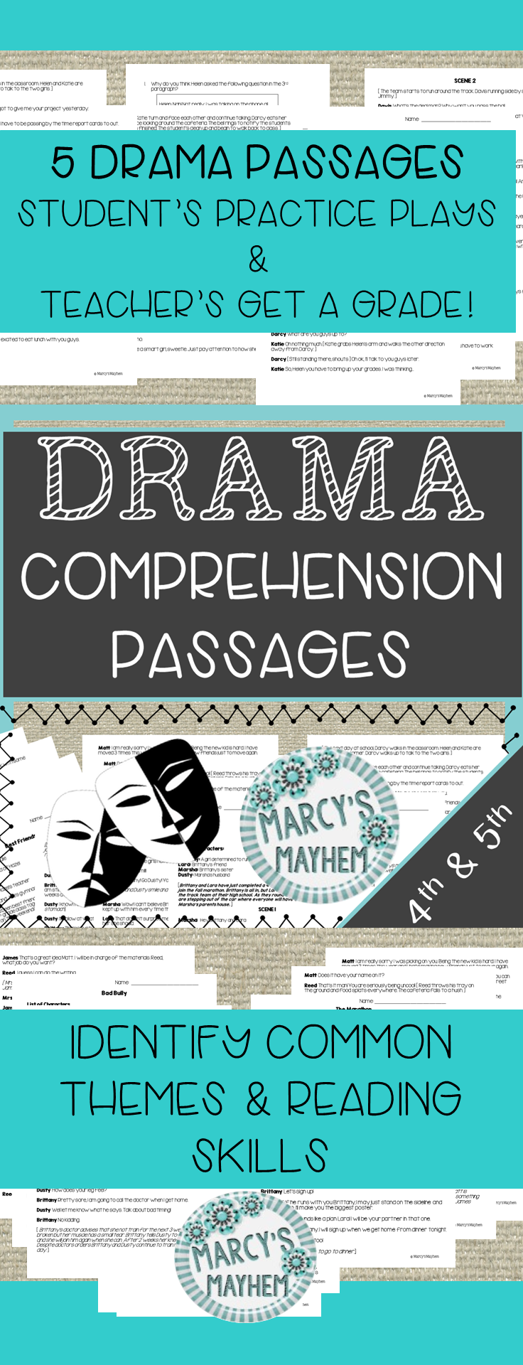 DRAMA Reading Prehension Passages For 4th & 5th Grade