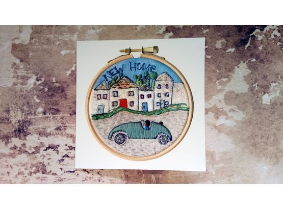 'New Home' Printed Embroidery Greetings Card is part of New home Greetings -